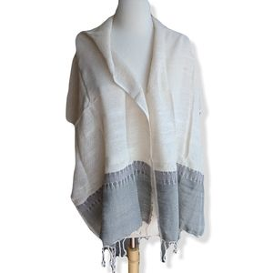 Hand Woven fringed scarf shawl | Cream sage gray